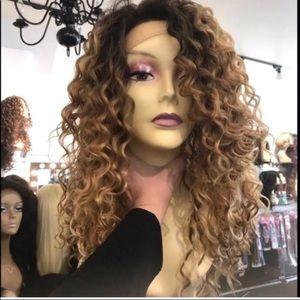 Ombré Wig Lacefront Curly Swisslace Long Wig ombré